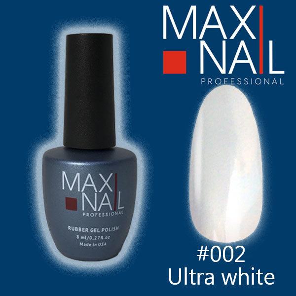 Белый гель-лак MaxiNail rubber gel polish #002 8 ml