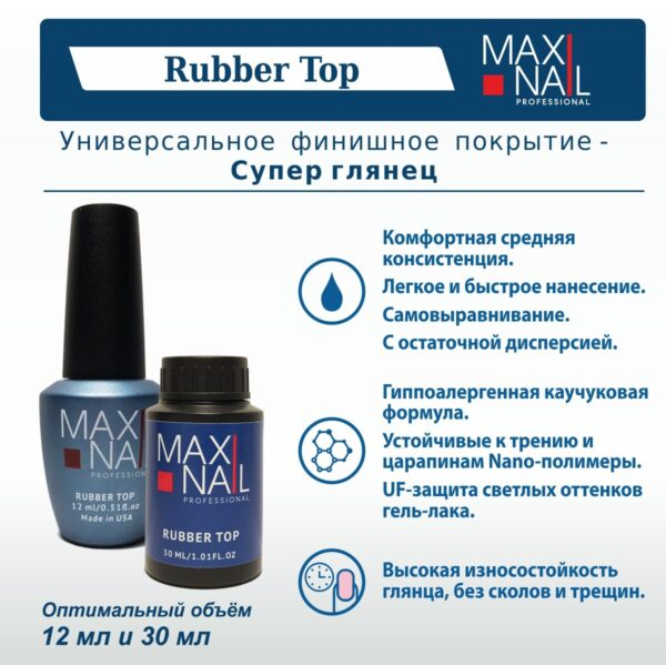 Топ MaxiNail Rubber Top 12 ml